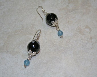 Black Onyx Art Glass Sterling Earrings