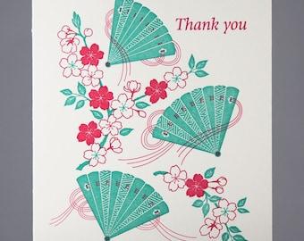 Letterpress Thank You Card | Fans and Sakura Thank You