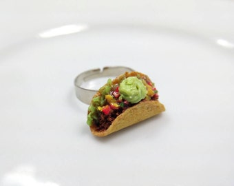 Taco Ring, Hard Shell Taco Ri g, Guacamole Taco, Crispy Taco Ring, Miniature Food Jewelry, Food Ring, Statement Ring