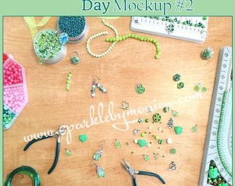 SBM-SPD2: St. Patrick's Day Green Shamrock Clover Desk Mockup, Jewelry Mockup, Beading Mockup, Styled Desktop