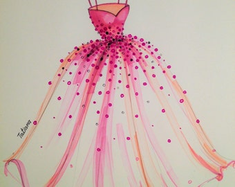 ORIGINAL Fashion Illustration-The Pink Dress