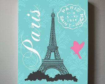 Eiffel Tower Canvas Art Paris Bedroom Decor, Girls Room Decor, Teen or Girl Nursery Decor ,Pink and Aqua Decor