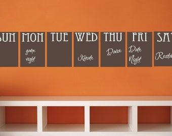 Chalk Board Set Organization Daily Week Vinyl Decor Wall Lettering Words Quotes Decals Art Custom Willow Creek Signs