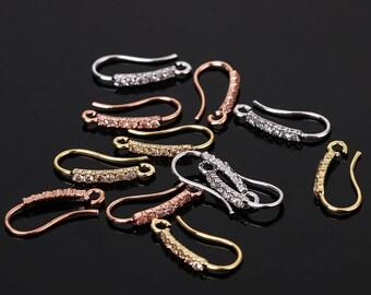 1 pair CZ earring hook, gold/rose gold/silver zirconia/rhinestone earring hook