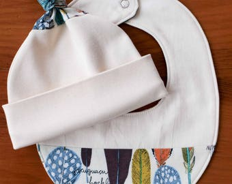 Rainbow Feather Baby Hat and Bib Set; Modern Organic Cotton Cap, Drool Bib Gift Set; Baby Basics Handmade Shower Gift, Birds of a Feather
