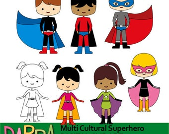 Multicultural superhero clipart - multiracial kids clip art - superheroes boys and girls clipart - standing superhero clipart