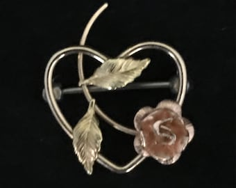 1950s Krementz Rose and Yellow Gold Filled Rose Heart Pin Brooch