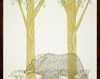 SALE - Forest II Letterpress Print Limited Edition Bear