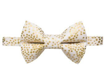 "Cat Collar + Matching Removable Bow Tie - ""The Mayor of Glitterland"" -  Cream with Metallic Gold Dot - Rifle Paper Co. Fabric"