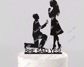 Wedding Cake Topper Silhouette Proposal, Groom proposing, She Said Yes - Proposal Acrylic Cake Topper [CT27y]