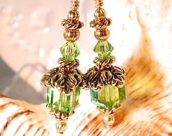 Light Green Peridot Crystal Earrings in Gold