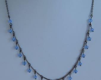 "Light Blue Crystal Necklace, Gray Metal, Vintage, 17"" (F13)"