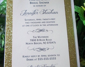Glitter formal elegance bridal shower invitation with or without belly band retro-chic