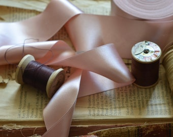 "dusty pink apricot silk satin 2"" wide ribbon"