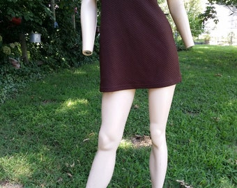 80s Dress, Vintage Dress, Casual Dress, Stretchy Dress, Mini Dress, Brown Dress, Textured Fabric, Vintage Costume, Currants, Dress Size 4
