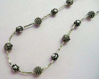 Bali sterling silver bead necklace including stars and moon beads