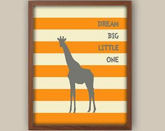 Orang And Gray Nursery Decor - Giraffe Nursery Art - Nursery Quote - Playroom Wall Art - Nursery Art - Available In Any Color