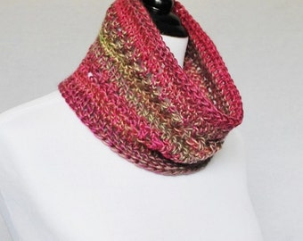 SALE! Pink Crochet Cowl, Short Infinity Scarf, Lacy Neck Warmer - Pink and Taupe