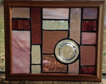 Purple stained glass with mason jar lid