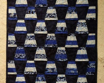 modern blue table topper mini quilt tumbler batik beaquilter