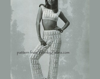 Vintage Crochet Pattern 233 PDF Trouser Suit from WonkyZebra