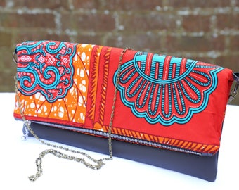 Foldover Clutch, Recycled Leather Clutch, African Print Clutch, Ethnic Print Ankara clutch, Tribal Print Accessories, Gift