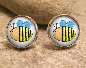 Bumble Bee Stud Earrings, Bees, Save the Bees, honey bee, bee jewelry, bee jewellery, gift for her, wife gift, gift for wife, christmas gift