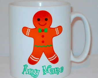 Cute Gingerbread Man Mug Can Be Personalised Any Name Funny Office Novelty Ginger Gift