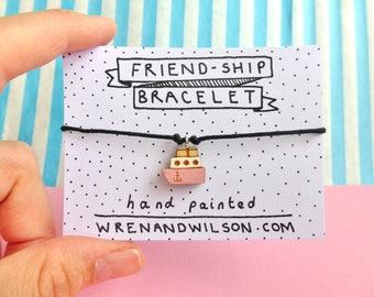 Handmade Friendship bracelet - pink charm. playful hand painted laser cut jewellery. Best friend gift, fun & cute. FREE UK SHIPPING!