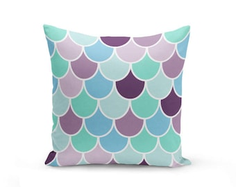 Mermaid Scale Pillow Cover, Fish Scale pillow cover, beach house decor Decorative Pillow Cover Euro Sham Cover
