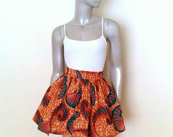 Orange Festival African Wax Print Mini Skirt