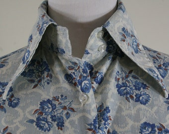 1970s Floral and Clouds Blouse Shirt