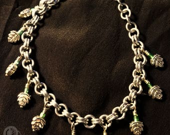 Fae Leaves - Pewter Charm Chainmaille