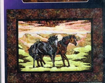 Standing Horses Landscape Wall Hanging Quilt Sewing Pattern - Animal Quilt Pattern - Wild Horse Canyon - Bigfork Bay