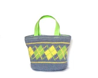 Little crochet purse plaid motives bag crochet handbag small crochet bag neon purse gray crochet bag small tote bag crochet yellow purse bag