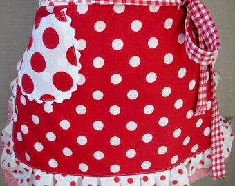 Aprons - Womens Red Dot Aprons -  Red Aprons - I Love Lucy Aprons - White Aprons - Annies Attic Aprons - Valentines Aprons - Teachers Gifts