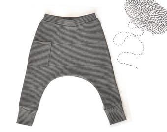 Baby Boy Clothes - Organic Baby Boy Harem Pants, Organic Baby Clothes, Baby Leggings, Baby Harem Pants, Baby Boy Leggings - Striped Gray