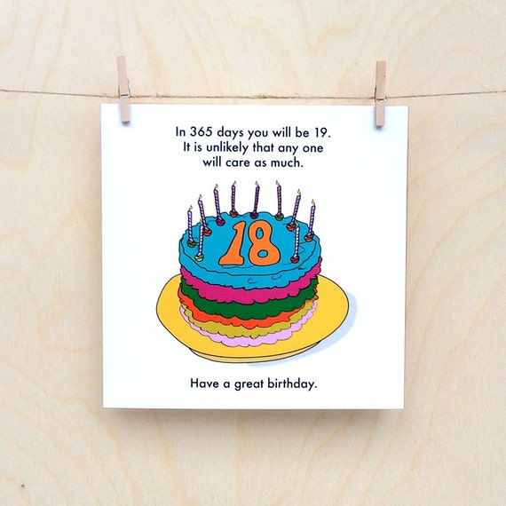 Items Similar To Funny 18th Birthday Card, Funny 18, Rude