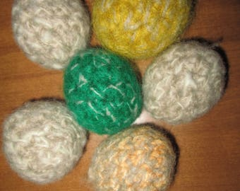 Felted Wool Cat Toy Balls Crocheted by SuzannesStitches, Handmade Wool Cat Toy Balls, Small Animal Toy Balls, Dog Wool Toy Balls, Kitten Toy