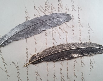 Feather Stamping  - Silverplated - Brass - Victorian Ornament