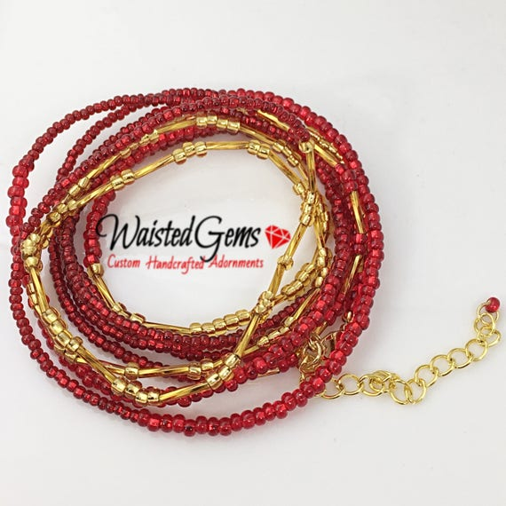 Ruby & Gold Triple Wrap a Round Waist Beads, Waistbeads, Belly Chain, African Waist Beads, barefoot sandals, Labor day sale