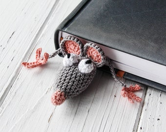 Rat bookmark, Crochet Mouse, Knitted Mouse, Crochet Bookmark, Amigurumi mouse, Best Friend Gifts, Unique Bookmark, Gift for her, Gift Idea