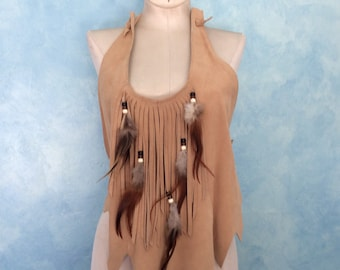 Vintage 70s HB Fringed Halter Top - Suede Top with Beads, Fringe and Feathers - 70s Halter - Native American Top