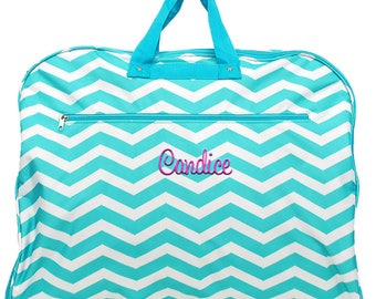 Personalized Garment Bag | Monogrammed Black  Travel Garment Bag | Bridesmaid Gift | Cheer Hanging Garment Bag | Aqua Chevron Garment Bag