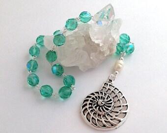 Irisdescent Aqua Ocean Prayer Beads // Pocket Prayer Beads // Pagan // Wiccan // Ocean Goddess // Water Goddess
