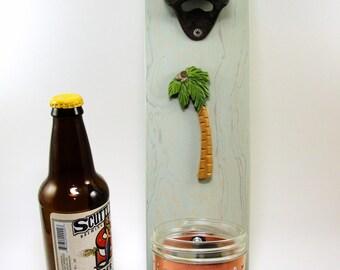 wall mount bottle opener cast iron palm tree beach