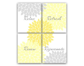 Bathroom Wall Art, Relax Refresh Renew Rejuvenate, Yellow & Gray Bathroom Decor, Modern Bathroom Art, Set of 4 Bath Art Prints - BATH39