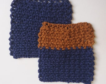 Set of 2 Cotton Crochet Cloths for Bodies or Dishes! Blue & Toffee