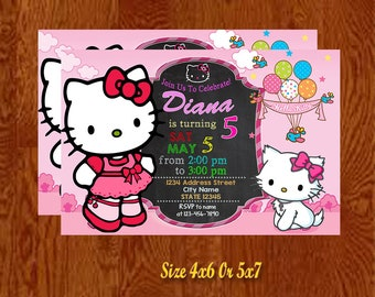Hello Kitty,Hello Kitty Invitation,Hello Kitty Birthday Invitation,Hello Kitty Party,Hello Kitty Printable,Digital Downoad,Personalized.