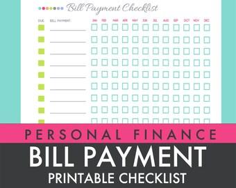 Bill Payment Checklist - Printable PDF - Custom Organizer Planner - INSTANT DOWNLOAD